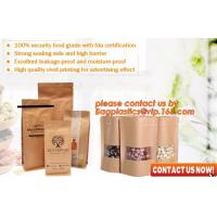 ziplock colorful printing stand up kraft paper bags with clear window,Brown kraft paper aluminum foil zipper plastic bag Manufactures