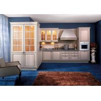 Soild Wood / Maple White Kitchen Wall Cabinets With Glass Doors L Shaped Manufactures