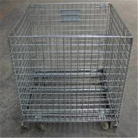 China Collapsible Caster Wire Mesh Basket Foldable Cage Heavy Duty With Wheels on sale