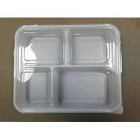 4-compartments Plastic Food Container with Lid plastic fast food box logo printing plastic food storage Manufactures