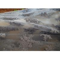 Blue Flower Embroidery Pearl Corded Lace Fabric With Eyelash Edge For Gown Manufactures