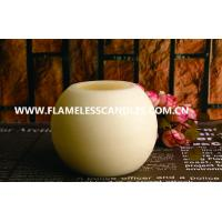 China Round Ball Shaped LED Wax Candle With Distressed Finish for Hotel Decoration on sale