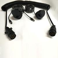 Black Trailer 7 Pin Trailer Extension Cord For Rear View Camera Monitoring System Manufactures