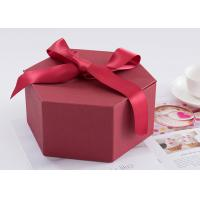 China Hexagon Custom Printed Gift Boxes Size 24.5 * 21.3 * 10.5cm With Ribbon on sale