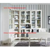 Quality Reading room Neoclassical Furniture by White Bookcase set with glass door and for sale