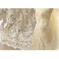 Ivory Embroidery Bridal Corded Lace Fabric , Flower Scalloped Edge Lace Fabric By The Yard Manufactures