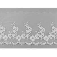 Ivory Cotton Lace Trim With Floral Lace Design Nylon Net For Bridal Dress Ribbon Manufactures