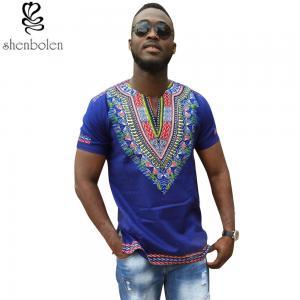 China Dashiki African Men T-Shirt Wax Print Fabrics Tops Clothes Cheap Price on sale