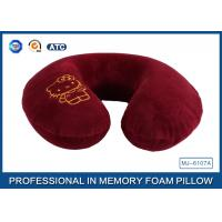 Cartoon Embroidery Comfortable Memory Foam Travel Neck Pillow Violet / Red / Blue Manufactures