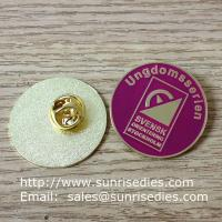 China Enamel metal emblem pins, color filled emblem pin badges with butterfly clutch on sale
