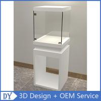 China Wholesale good quality wooden square matte white perspex display stands with fully locks lights on sale