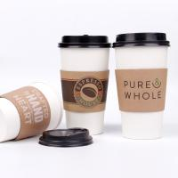 Eco friendly disposable coffee cups with lids and sleeve branded takeaway cups Manufactures