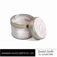 Small Soy Tealight Candles , Tin Can Candles Raspberry / Amber Fragrance Manufactures