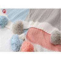 China 100% Cotton Organic Warm Baby knit Blanket Muslin Swaddle Baby Pom Pom throw for sale