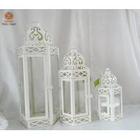 China White Morocco hanging metal lantern candle holder For indoor Wedding wholesale