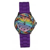 Purple Bling Stones Kids Analog Watch With Silicone Strap Silver Up Numbers Manufactures
