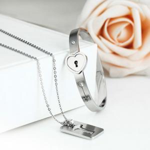 Hot Fashion Couples Eternal Love Loyalty Promise Key Lock Bangle+ Necklace Set Manufactures