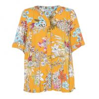 China Floral Print Short Fashion Ladies Blouse Casual Shirt With Collar V Neck on sale
