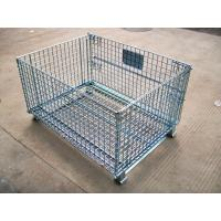 Heavy Duty Galvanized Foldable Wire Mesh Pallet Cage With Cold Drawn Steel Manufactures