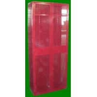 Wire Mesh Single Door Lockers Red Color Steel Wardrobe With Turn Handle Tool Manufactures