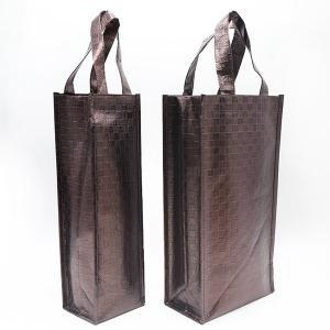 Wholesale custom new brown fashion pp non woven shopping bag aluminum foil tote wine bag