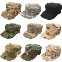 Military Camo Flat Top Army Cap Embroidery Logo / Fitted Strap Closure Available Manufactures