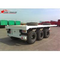 Three - Axle 40FT 12 Tires Flatbed Semi Trailer , Flatbed Equipment Trailer Manufactures