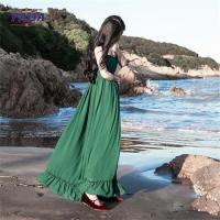 China Chiffon style empire waist green maxi long one piece dresses modern lady casual autumn dress with low price on sale