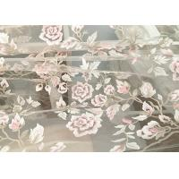 Exquisite Multi Colored Lace Fabric with Blush Pink And Metallic Yarn Embroidered Manufactures