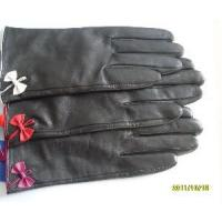 Black Leather Gloves with Bowknot (HB39B) Manufactures
