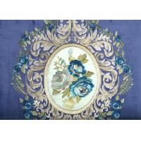 China Blue Floral Embroidery Velvet Fabric , Soft Polyester Fabric Blackout on sale