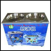 China high output comercial double flat pan fried ice machine/electric fruit ice cream maker on sale