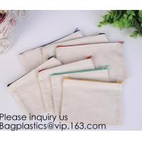 Office Stationery custom logo printed plain Cotton Canvas pencil case bag with zipper,stationery bag paper holder file h Manufactures