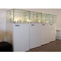 Material Wooden White Lighting Retail Glass Display Cases / Museum Glass Case Manufactures