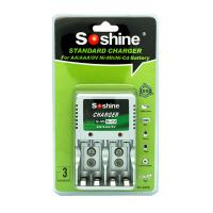Soshine AAA/AA/9V NI-MH Compact Battery Charger for AAA,AA 1-2pcs 9V Ni-Cd/Ni-MH batteries Manufactures