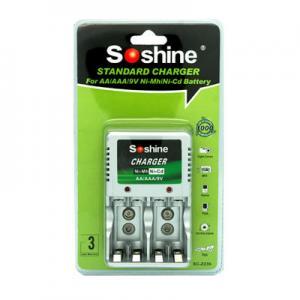 China Soshine AAA/AA/9V NI-MH Compact Battery Charger for AAA,AA 1-2pcs 9V Ni-Cd/Ni-MH batteries on sale