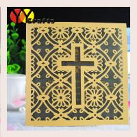 Luxury square wedding cards baptism gold invitation card with laser cut cross design Manufactures