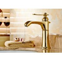 China ROVATE Gold Deck Mounted Brass Basin Mixer Faucets Cold And Hot Water on sale