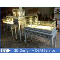 Quality Nice Modern Glass Wooden In Gray Jewellery Counter Design With Led Light for sale