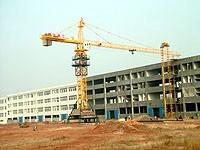 China 6ton Potain Tower Crane / Luffing Crane 5015 Stationary Attached with 50.2M Height Under Hook on sale