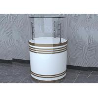 Wooden White Custom Glass Display Cases Fashion Round Shape With LED Pole Lighting Manufactures
