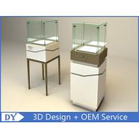 High Square Glass Jewelry Display Case With Lights Logo / Shop Glass Display Cabinets Manufactures