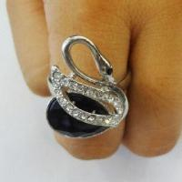 Alloy Ring with Rhinestone, Latest Unique Style, Small Orders Accepted, OEM Designs are Welcome Manufactures