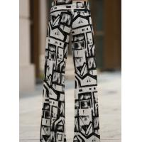 Black And White Colors Womens High Waisted Pants Wide Leg Different Sizes Manufactures