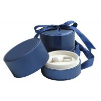 Wedding Double Rings Jewelry Paper Boxes With Ribbon Dark Blue Manufactures