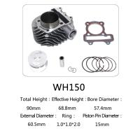 WH150 Aluminum Motorcycle Cylinder Kit With Piston , Piston Ring , Pin , Clip And Gasket Manufactures