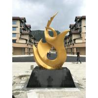 China Golden Abstract Metal Garden Sculpture Handcraft Painted With Customized Size on sale