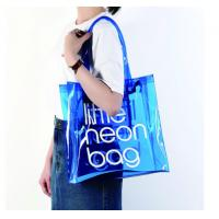 Clear PVC Clear Tote Bag , Logo Printing Custom Blue PVC Travel Bag