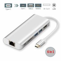 USB C Adapter Hub,Type C 3.1 Multiport Hub with Type C Charge Port HDMI Card Reader USB 3.0 Ports Ethernet For MacBook Manufactures