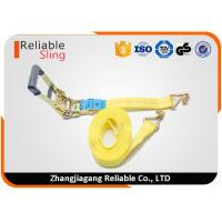 China Us Type Rubber Covered Vehicle Tie Down Straps With 2 Yellow Webbing Belt on sale